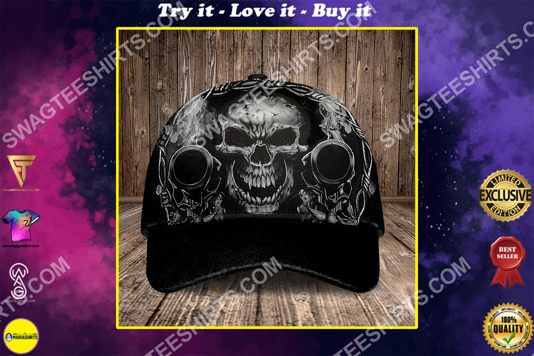 the dead skull and gun all over printed classic cap
