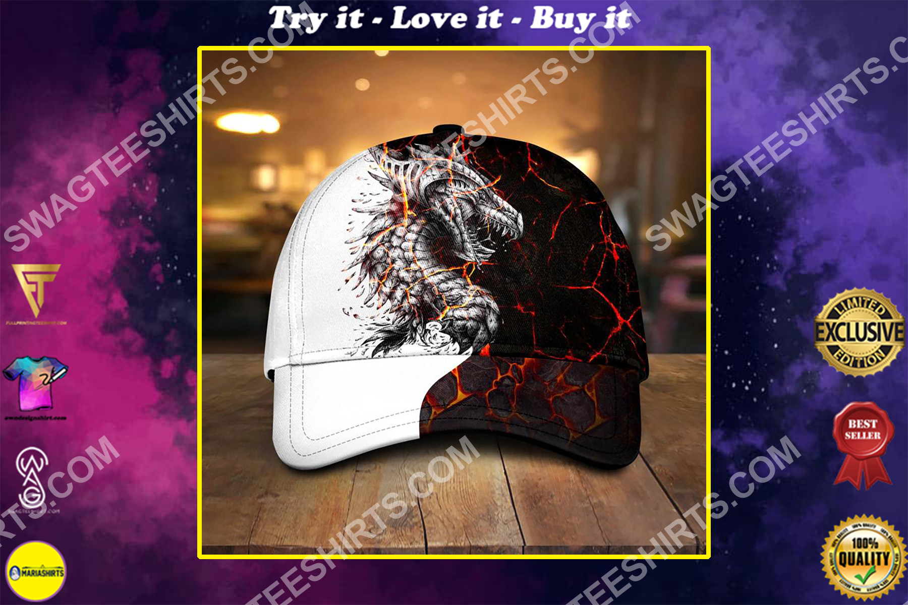 the dragon and fire all over printed classic cap