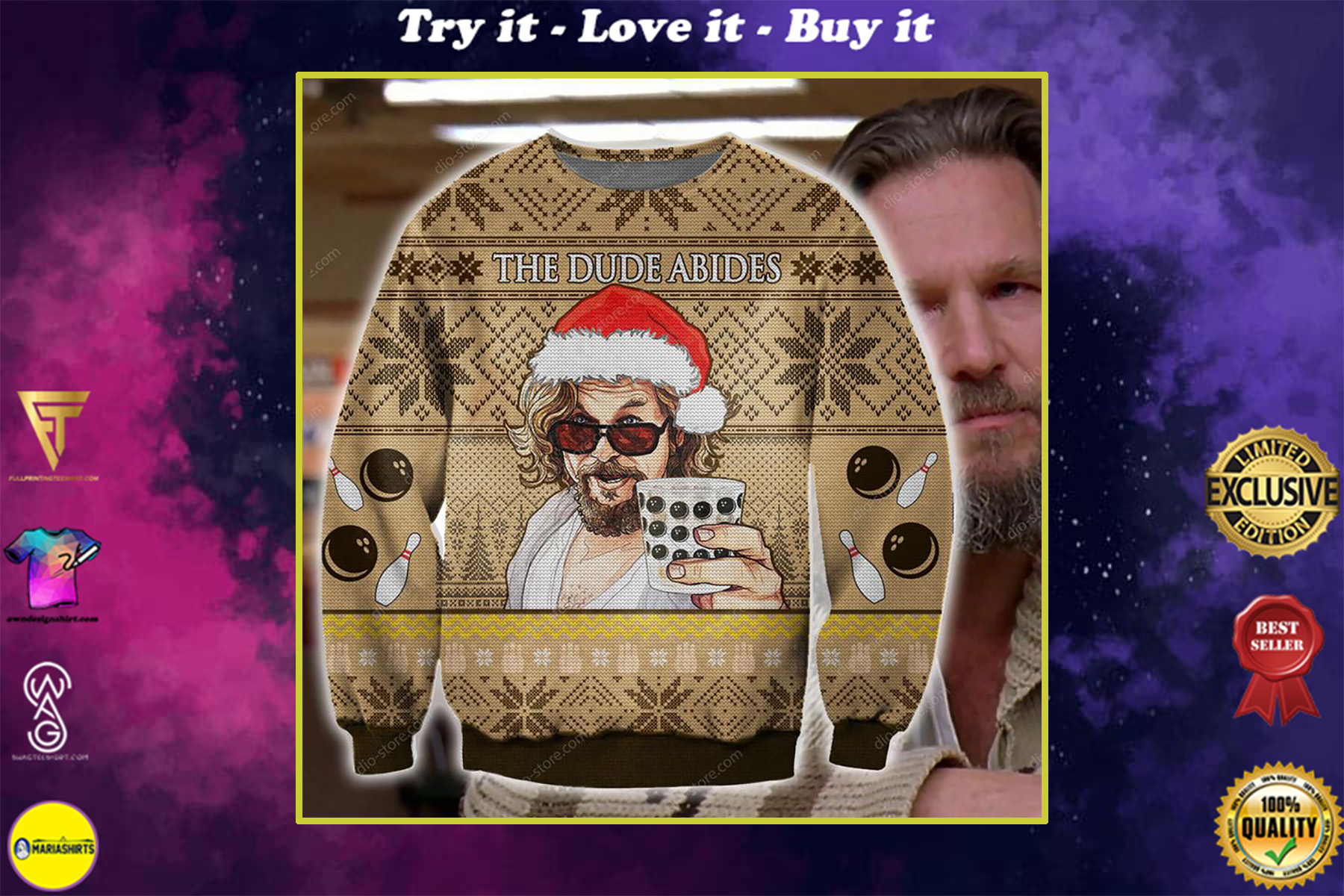 the dude abides the big lebowski ugly christmas sweater