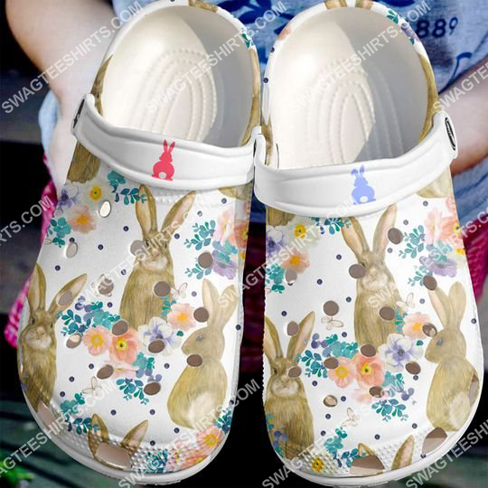 the flower and rabbit all over printed crocs 2