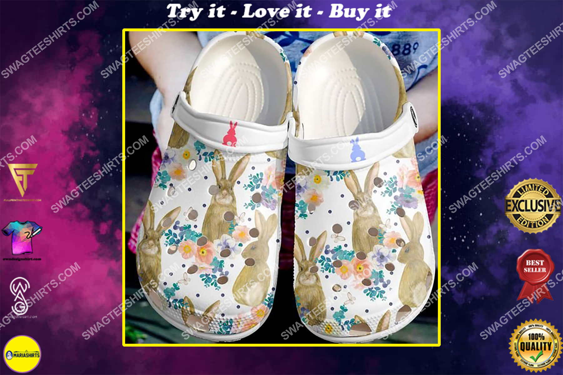the flower and rabbit all over printed crocs
