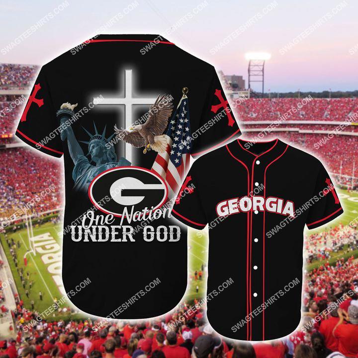 the georgia bulldogs one nation under God full printing baseball jersey 1(1) - Copy