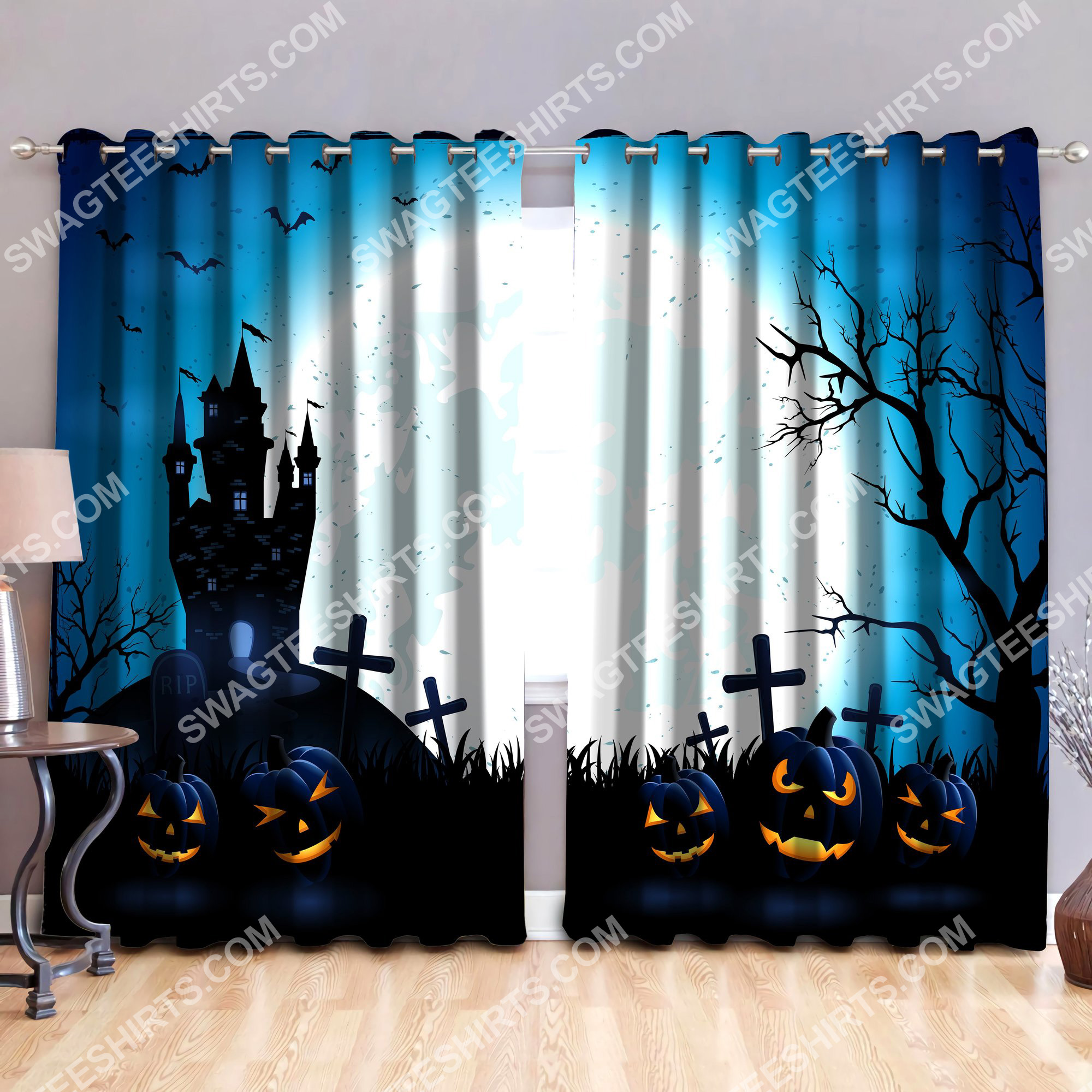 the halloween night all over printed window curtains 2(1)