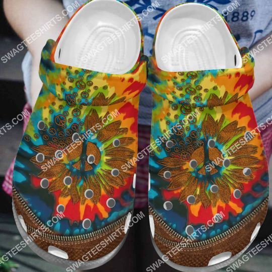 the hippie flower tie dye all over printed crocs 2