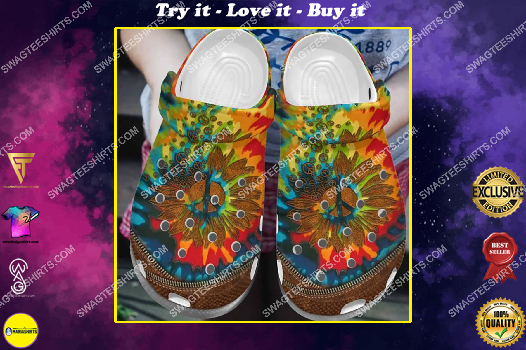 the hippie flower tie dye all over printed crocs