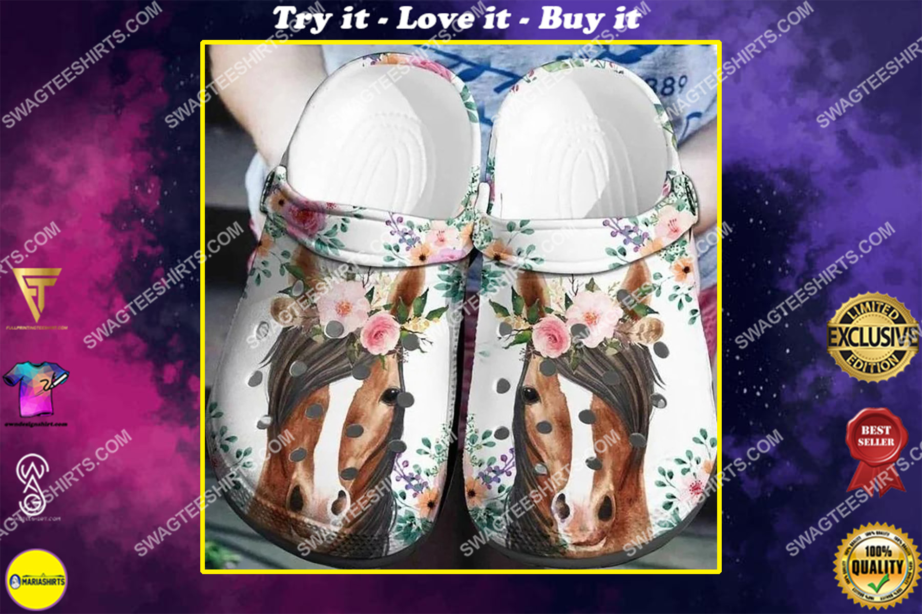 the horse and flowers all over printed crocs crocband clog