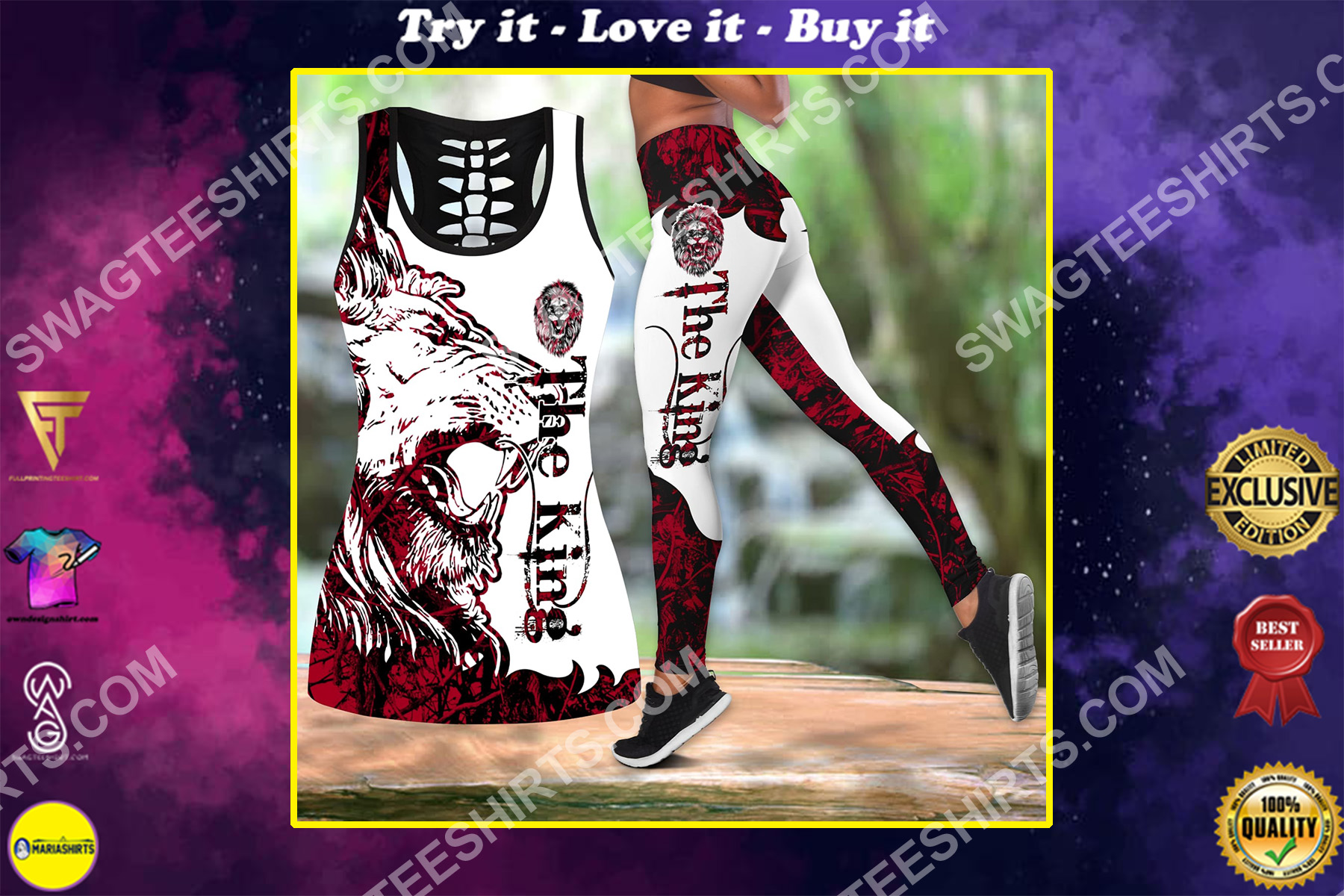 the king the lion all over printed set sports outfit