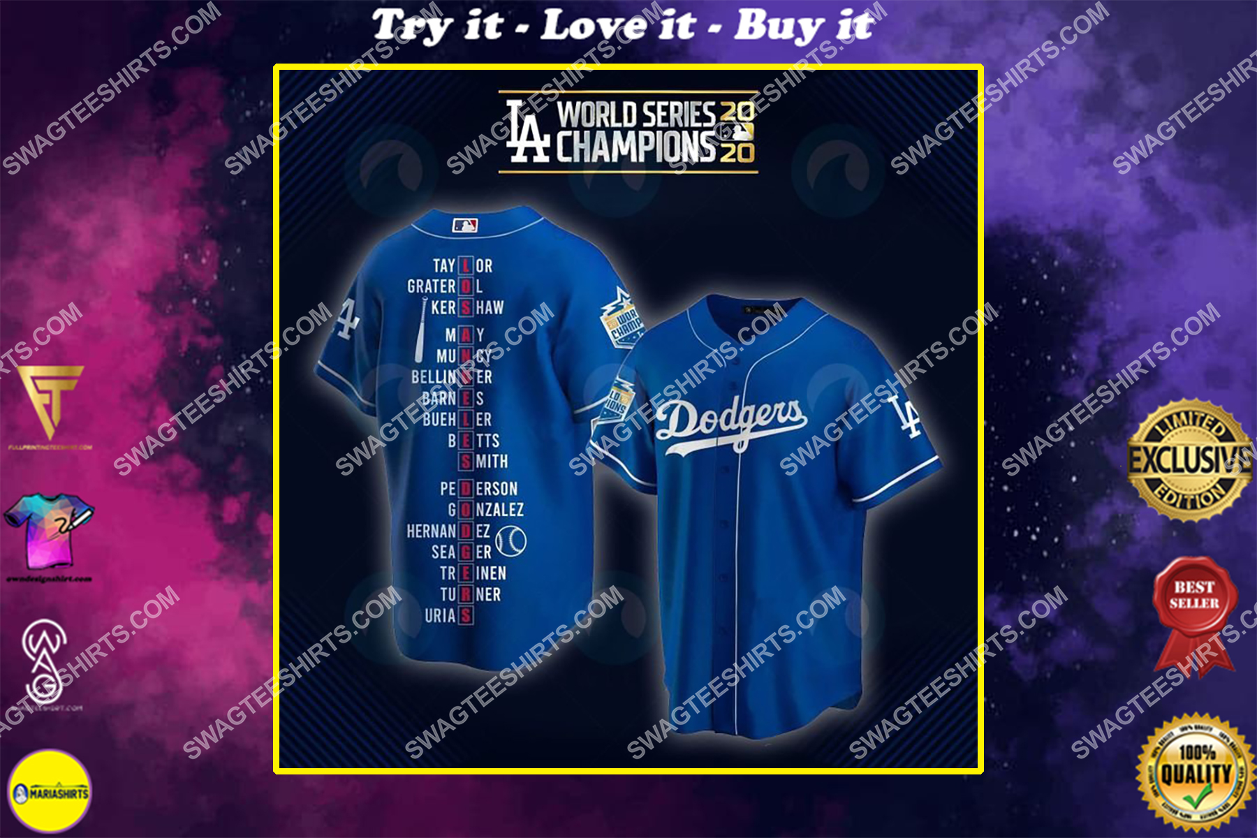 the los angeles dodgers full printing baseball jersey