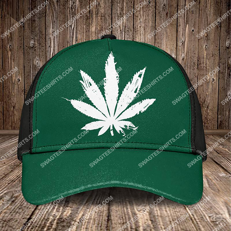 the marijuana leaf all over printed classic cap 3