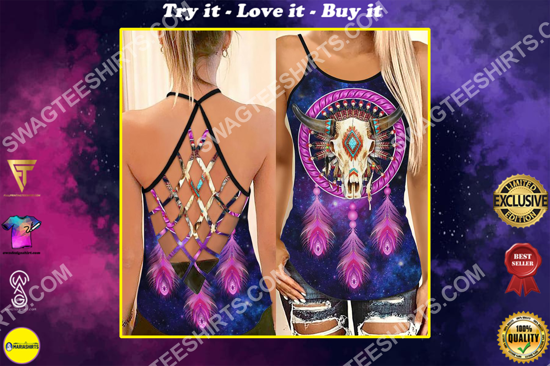 the native americans symbols strappy back tank top