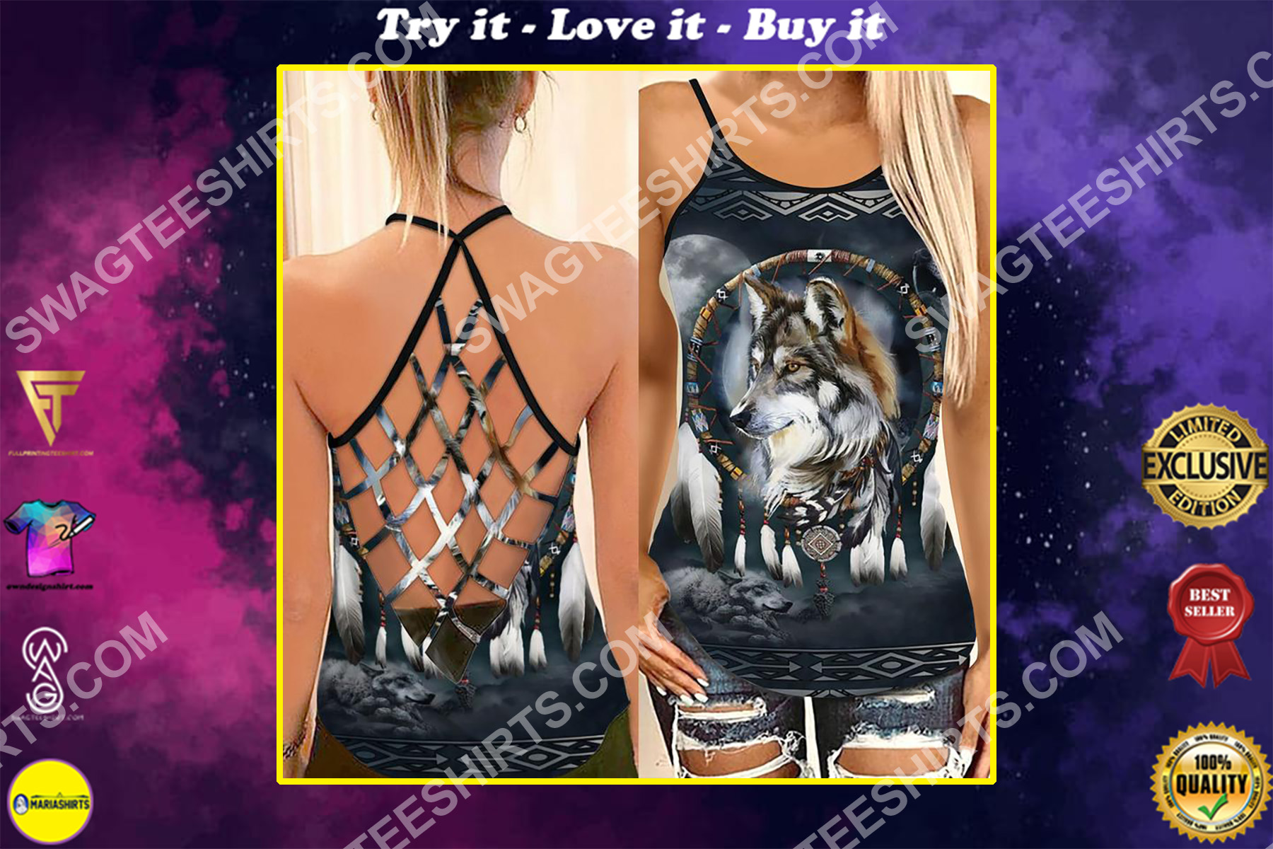 the native americans wolf and moon strappy back tank top