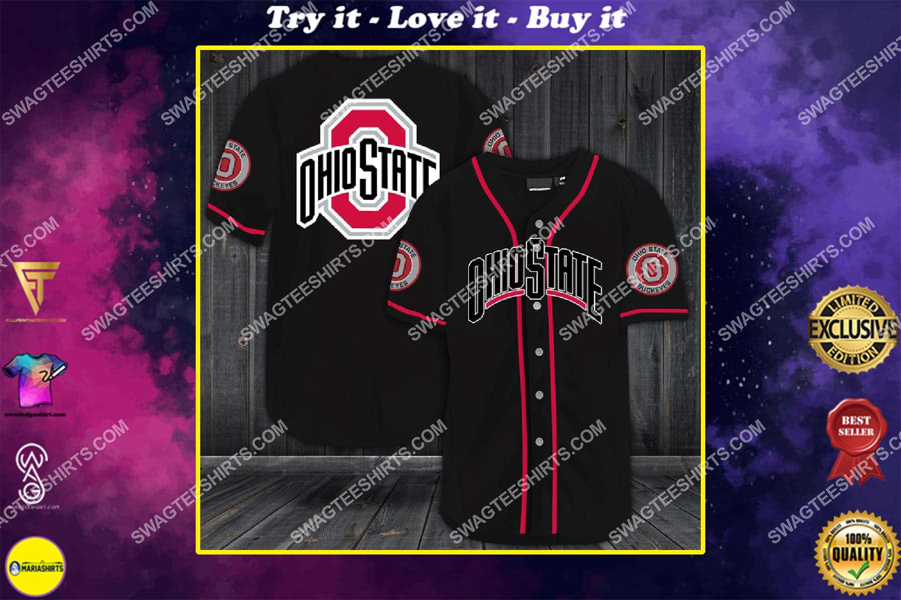 the ohio state buckeyes football team full printing baseball jersey