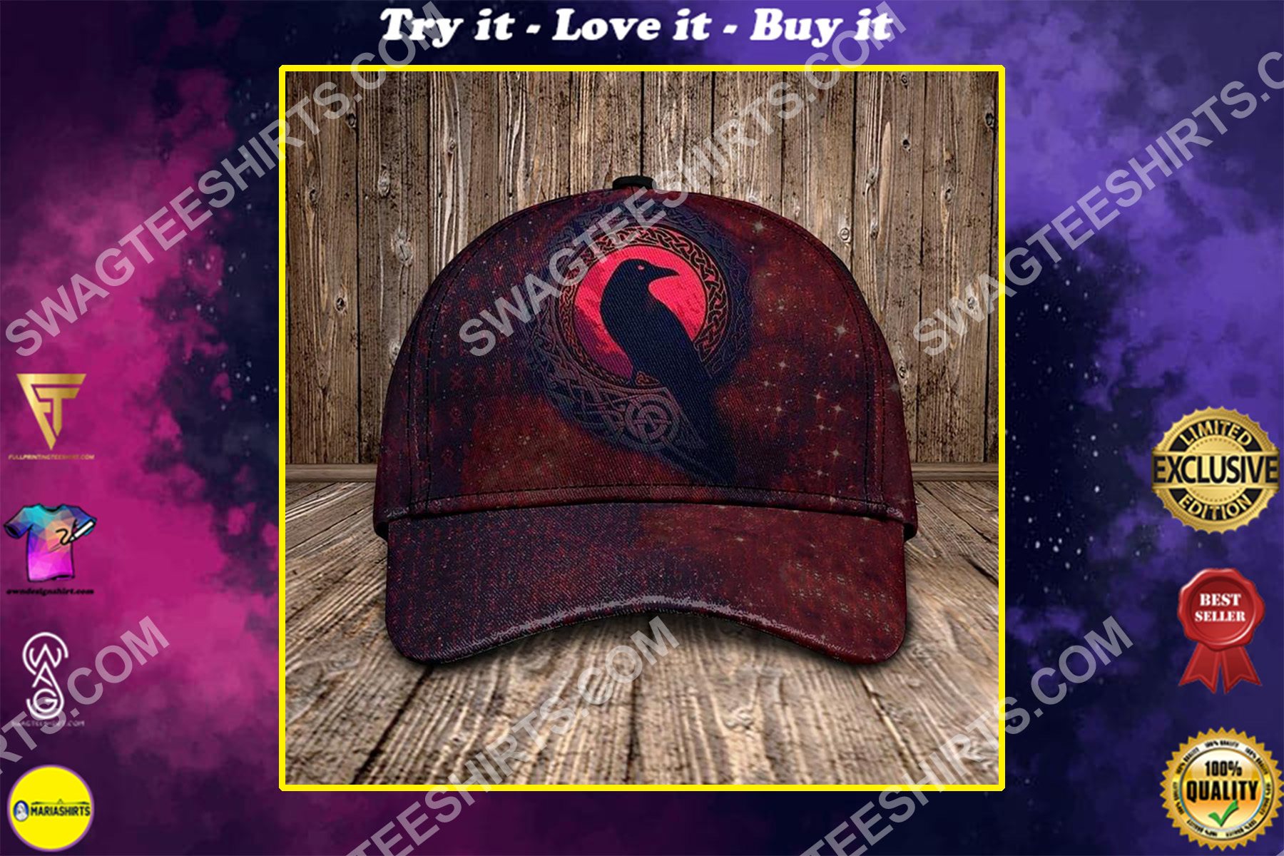 the raven viking all over printed classic cap