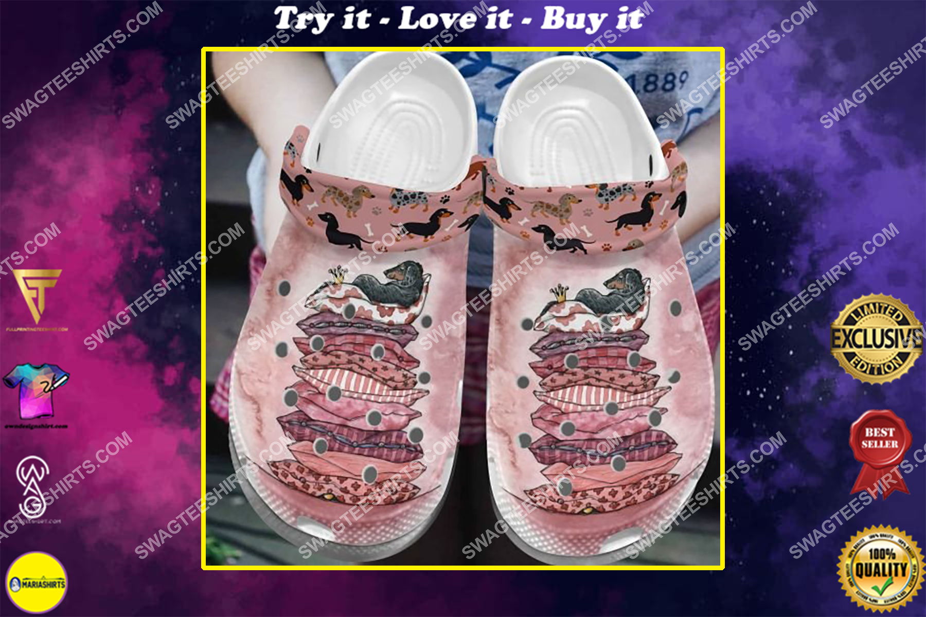 the royal dachshund dogs lover all over printed crocs