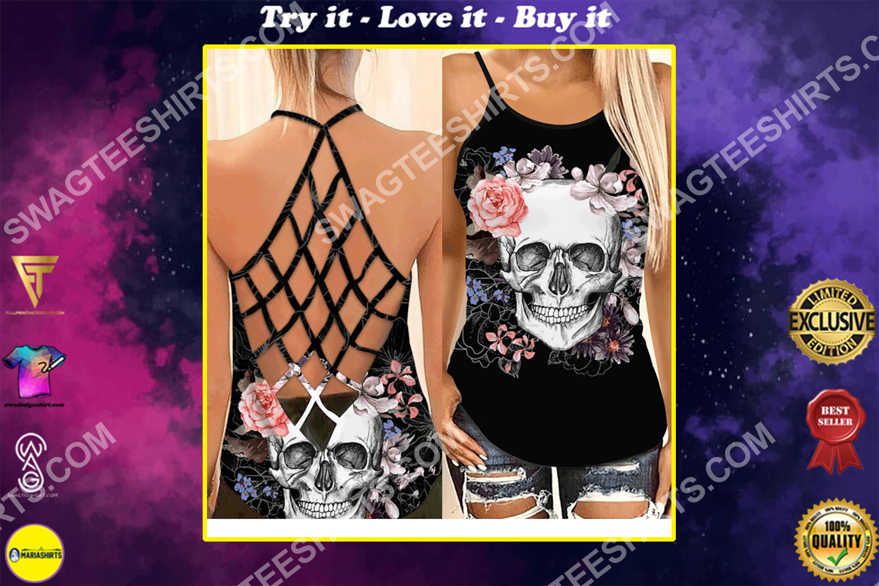 the skull with flower all over printed strappy back tank top