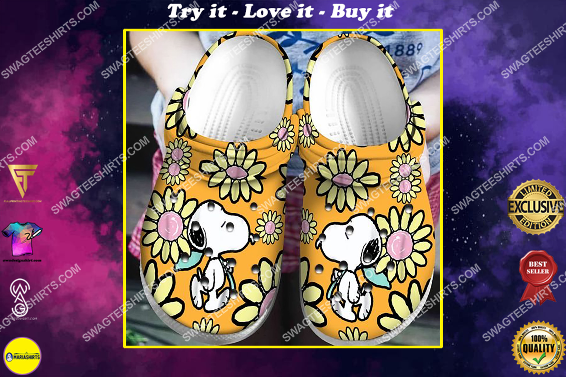 the snoopy flower all over printed crocs crocband clog
