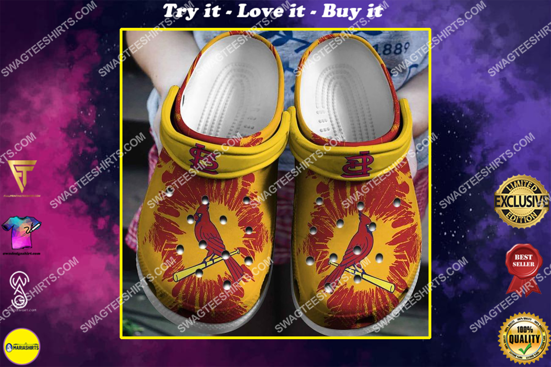 the st louis cardinals all over printed crocs crocband clog