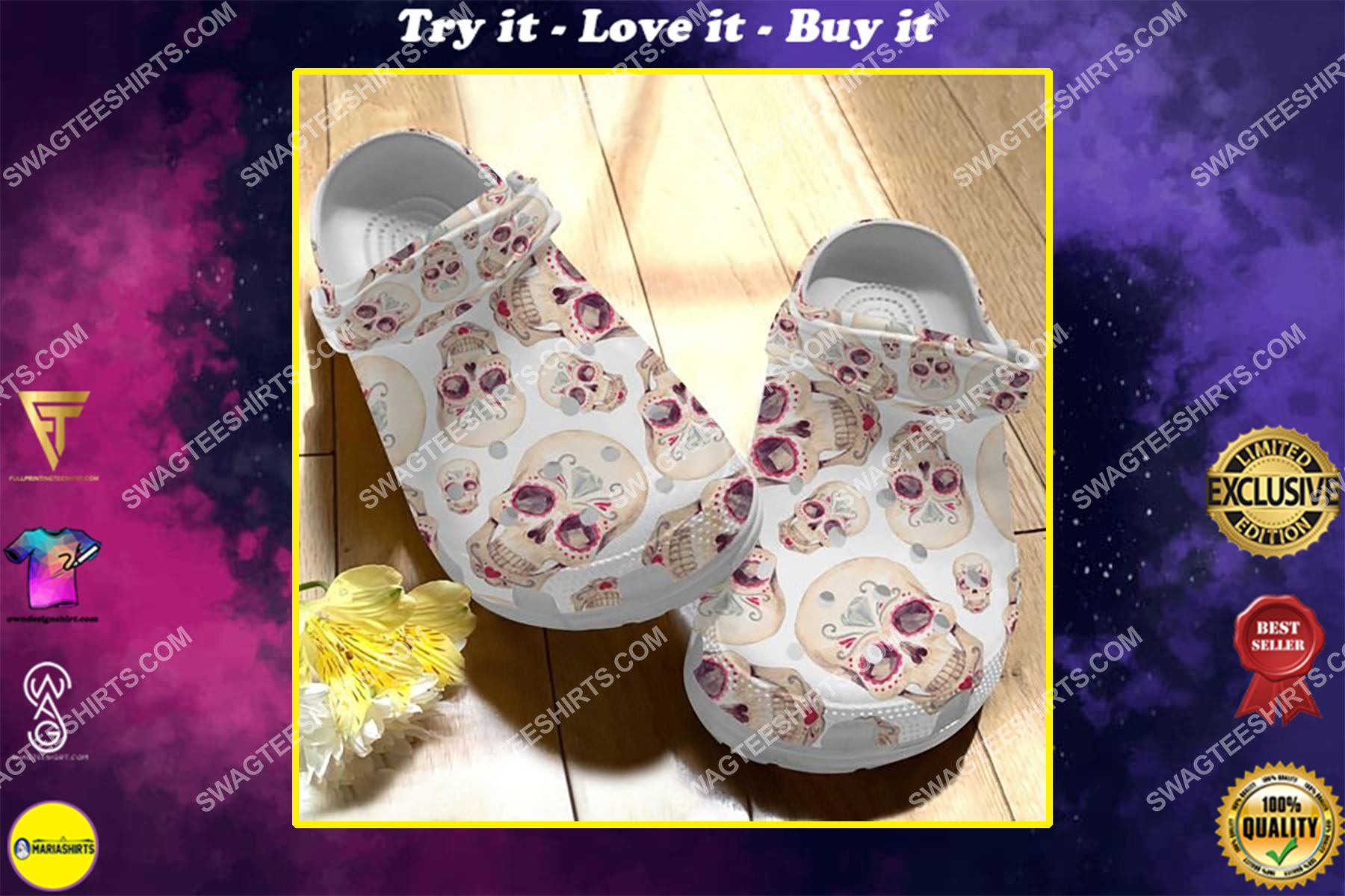 the sugar skull floral all over printed crocs
