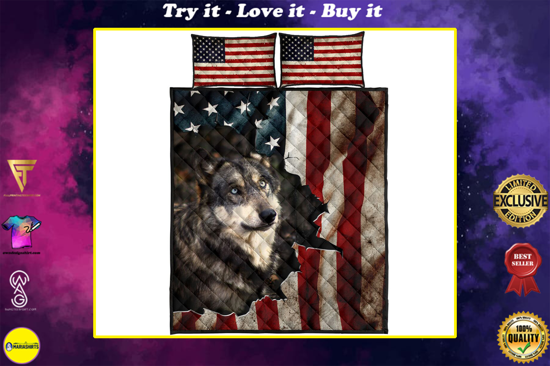the wolf in american flag full over print quilt