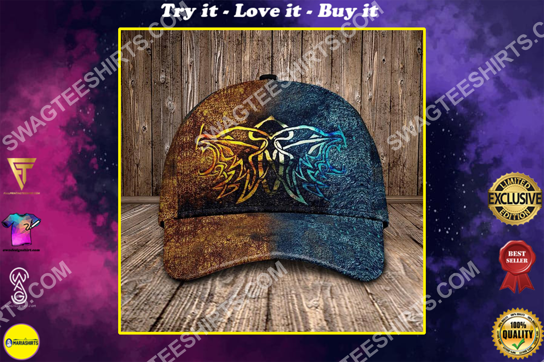 the wolf viking all over printed classic cap