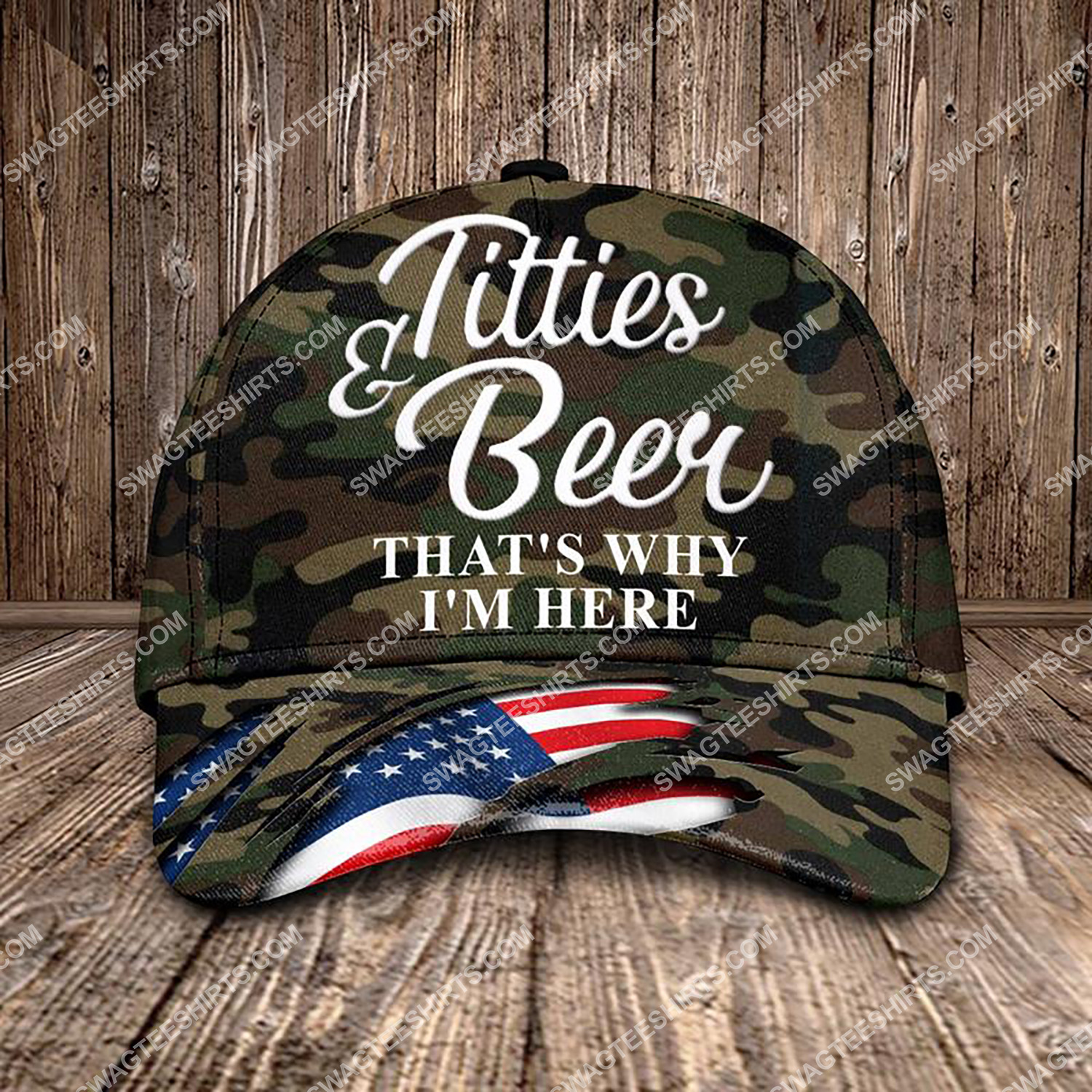 titties and beer that's why i'm here all over printed classic cap 3