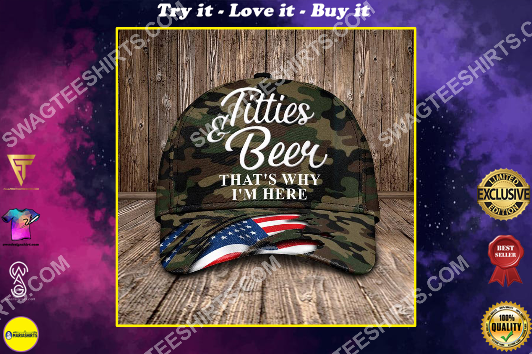 titties and beer that's why i'm here all over printed classic cap