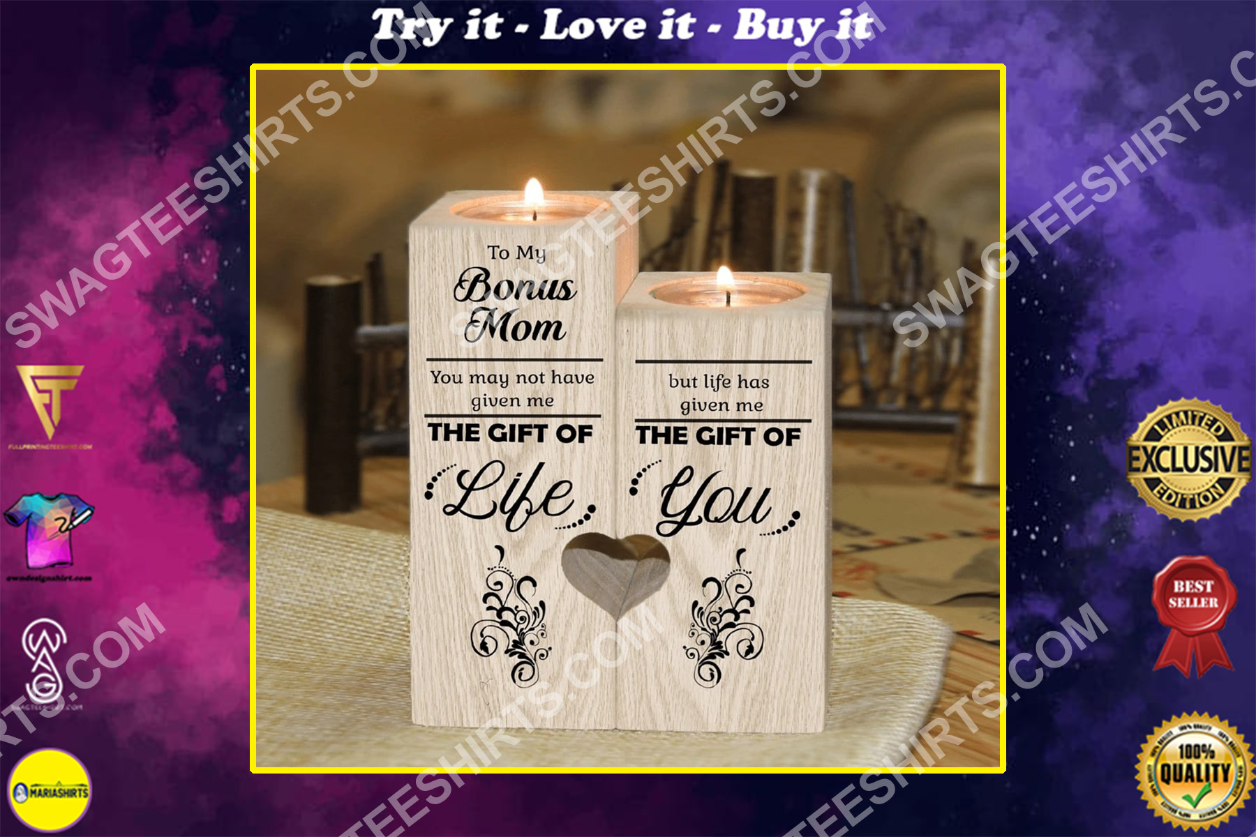 to my bonus mom the gift of life candle holder