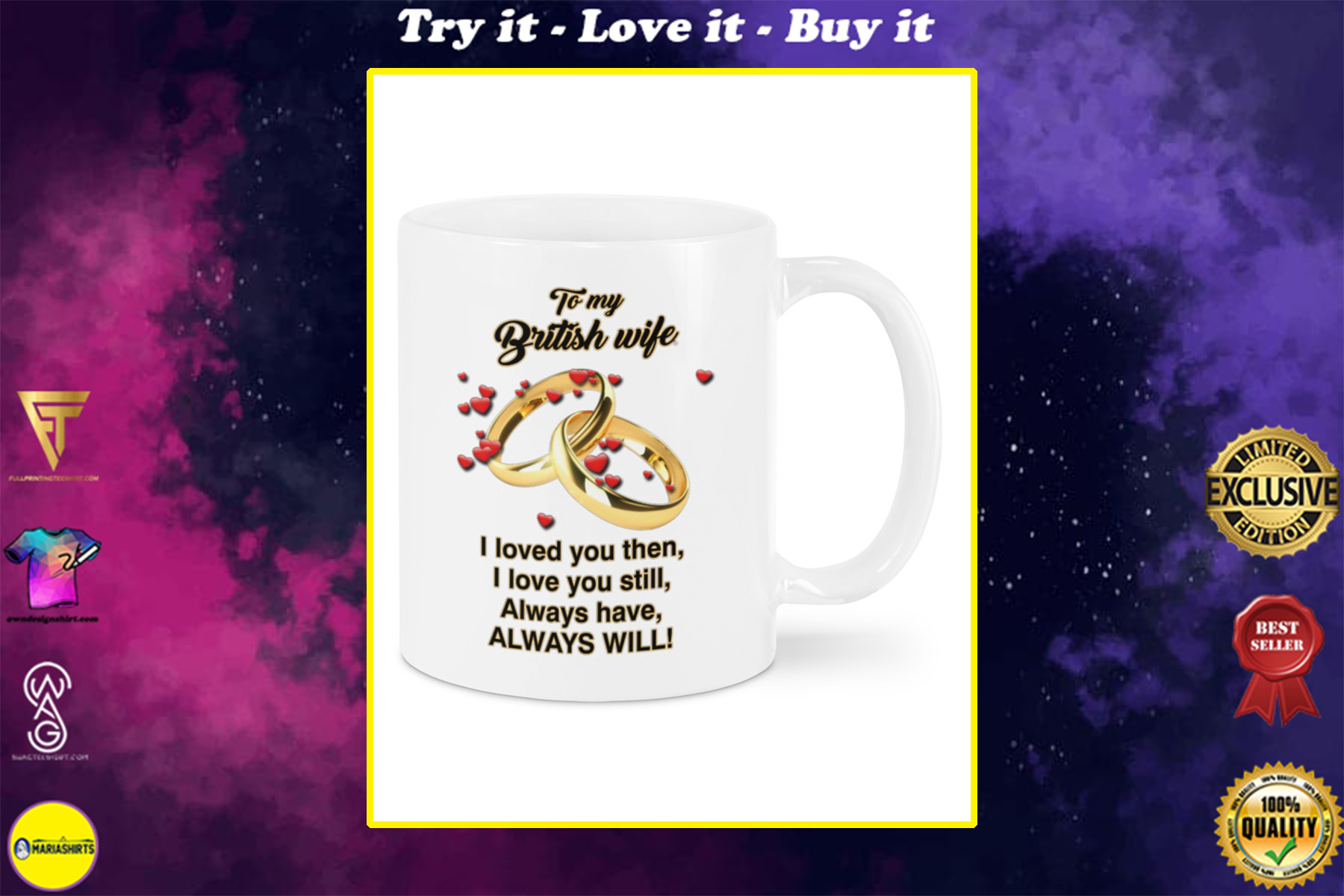 to my british wife i loved you then i love you still mug
