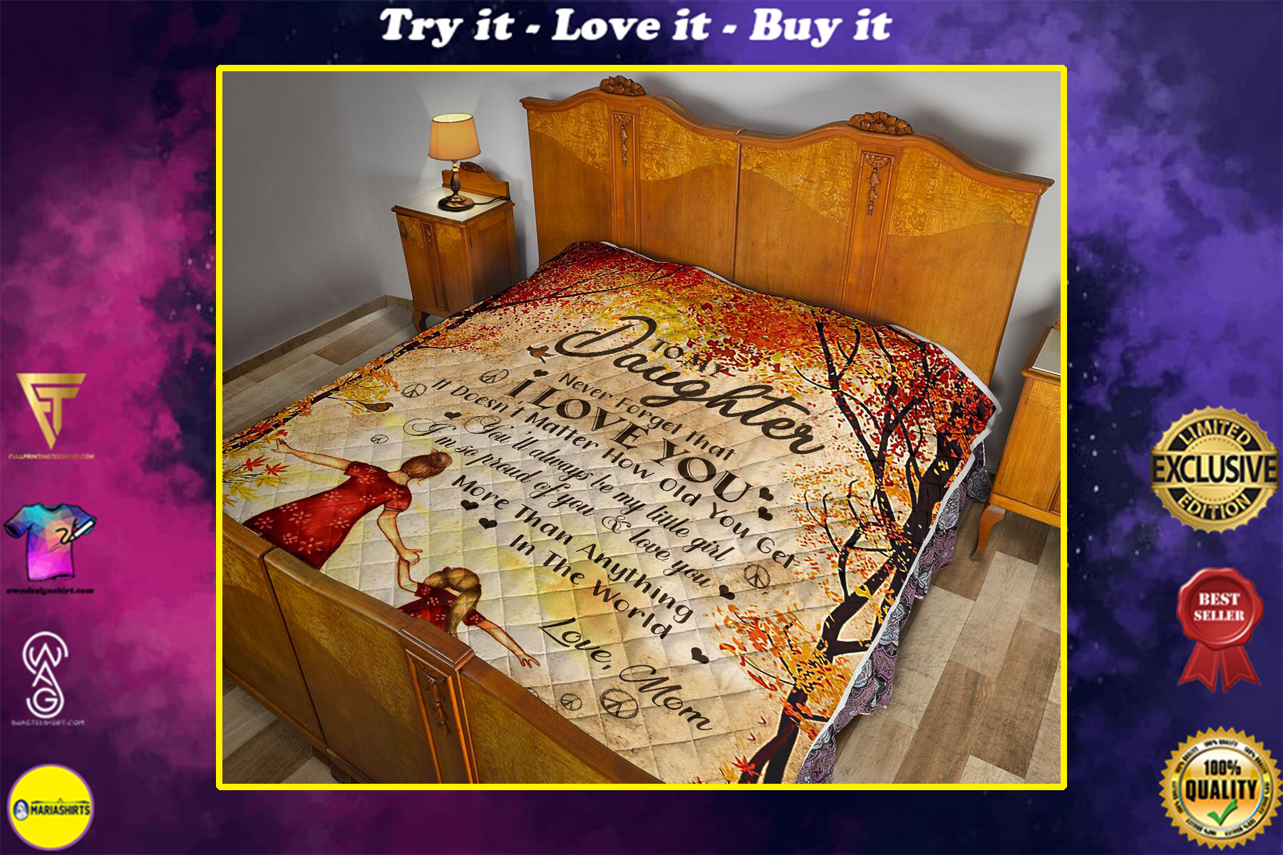 to my daughter never forget i love you love mom full printing quilt