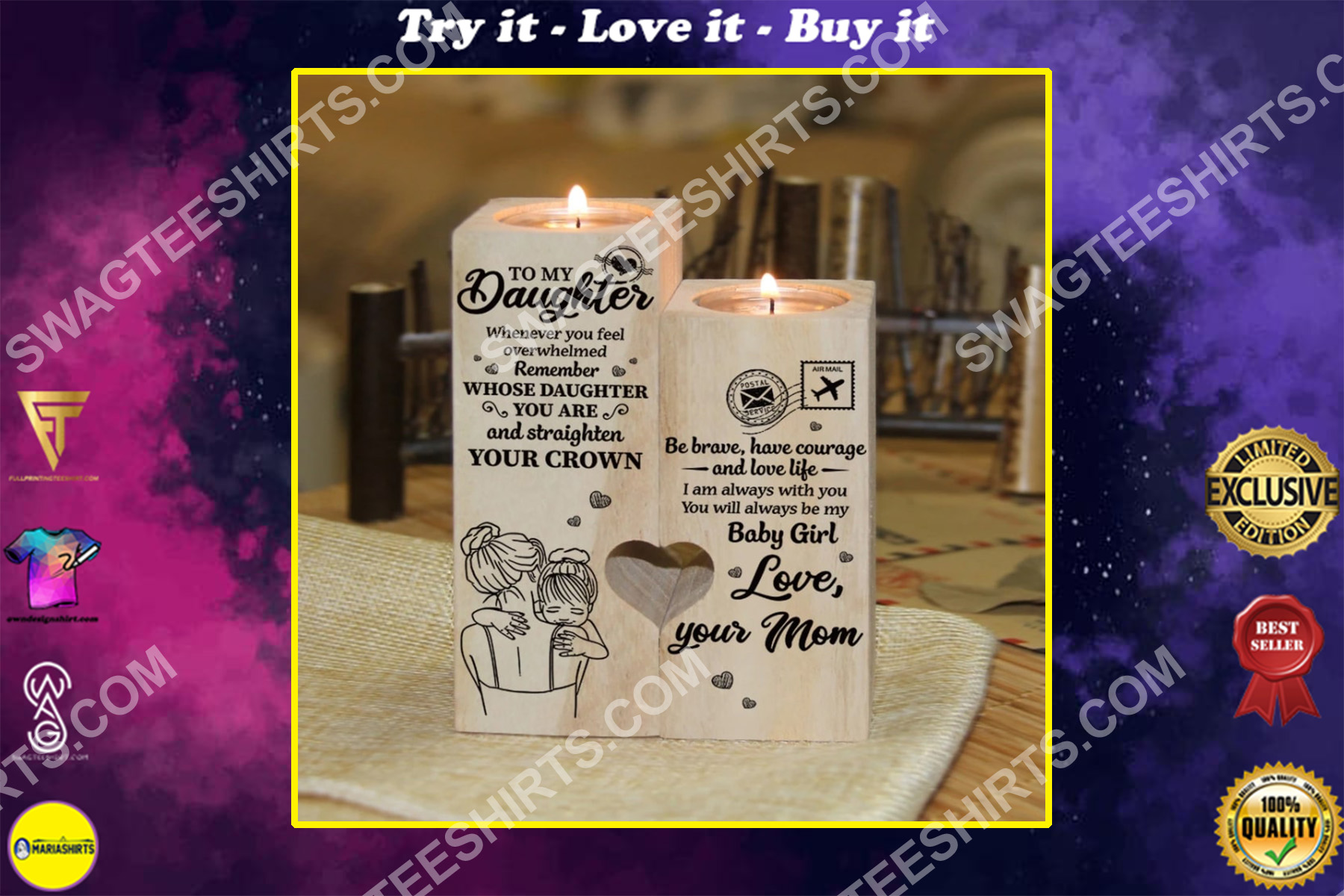to my daughter you will always be my baby girl your mom candle holder