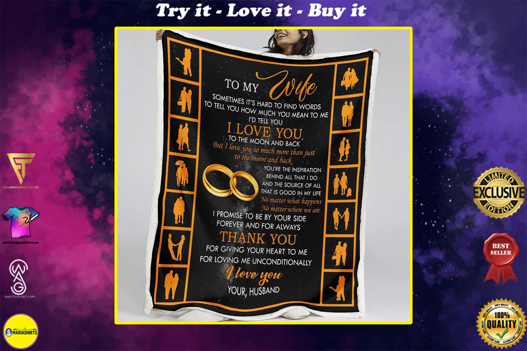 to my wife i love you to the moon and back your husband full printing blanket