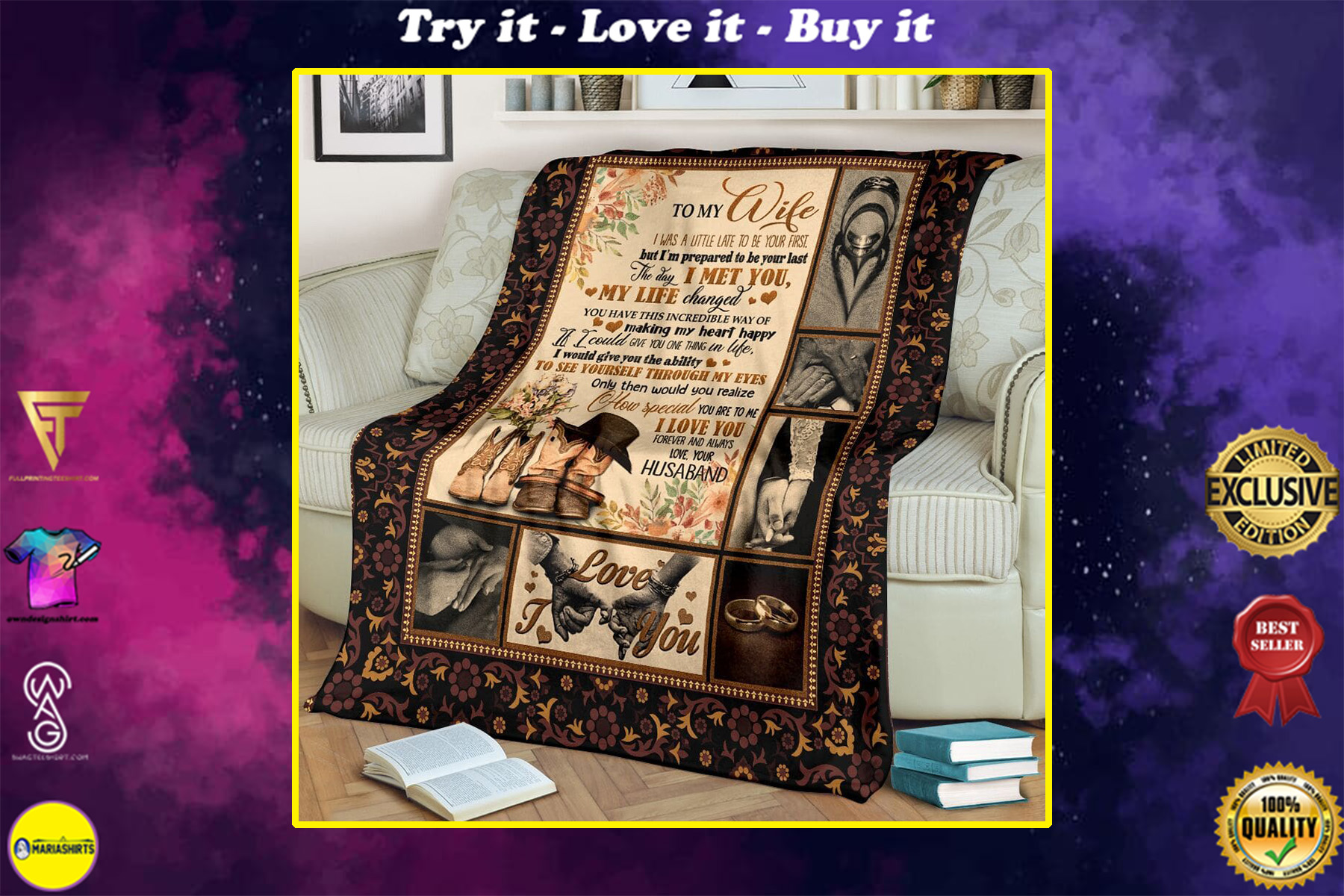 to my wife the day i met you my life changed full printing blanket