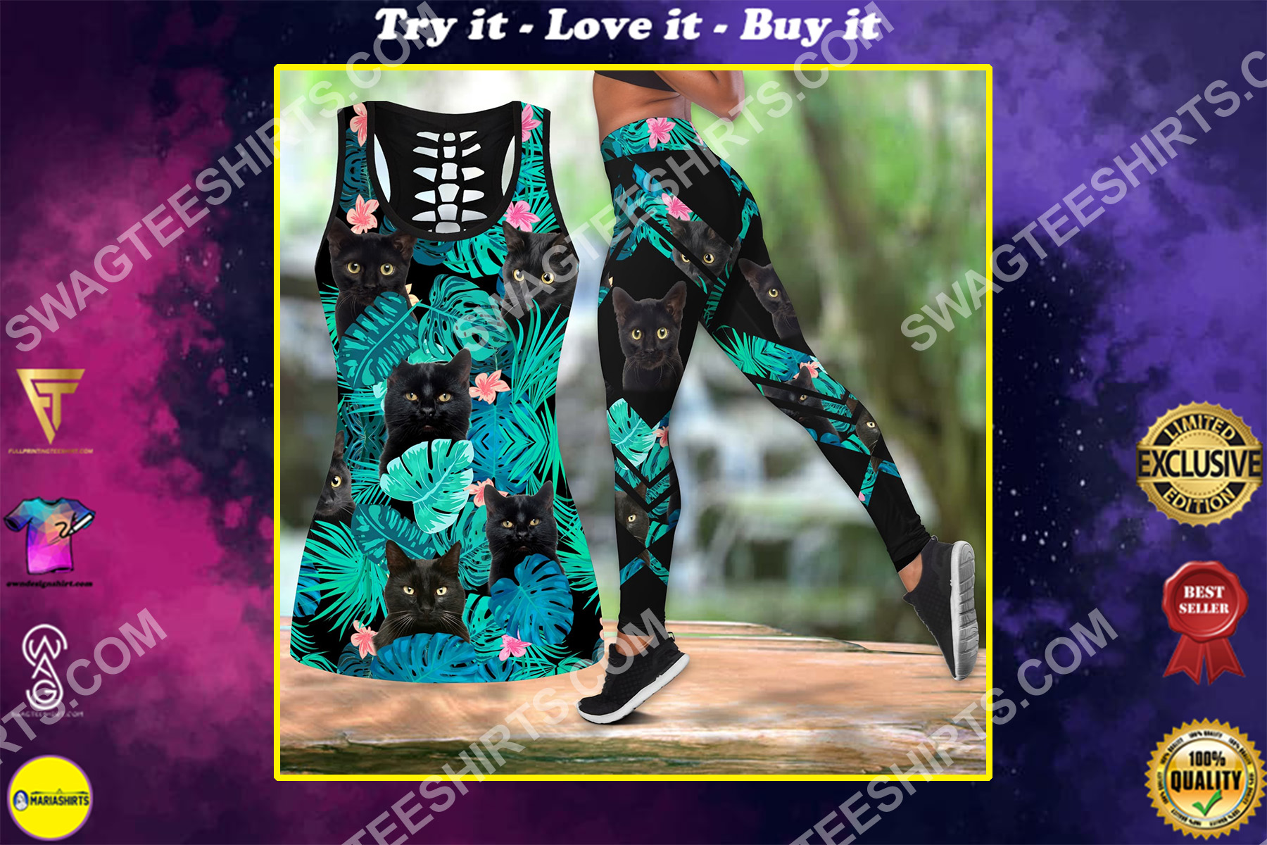 tropical black cat all over printed set sports outfit