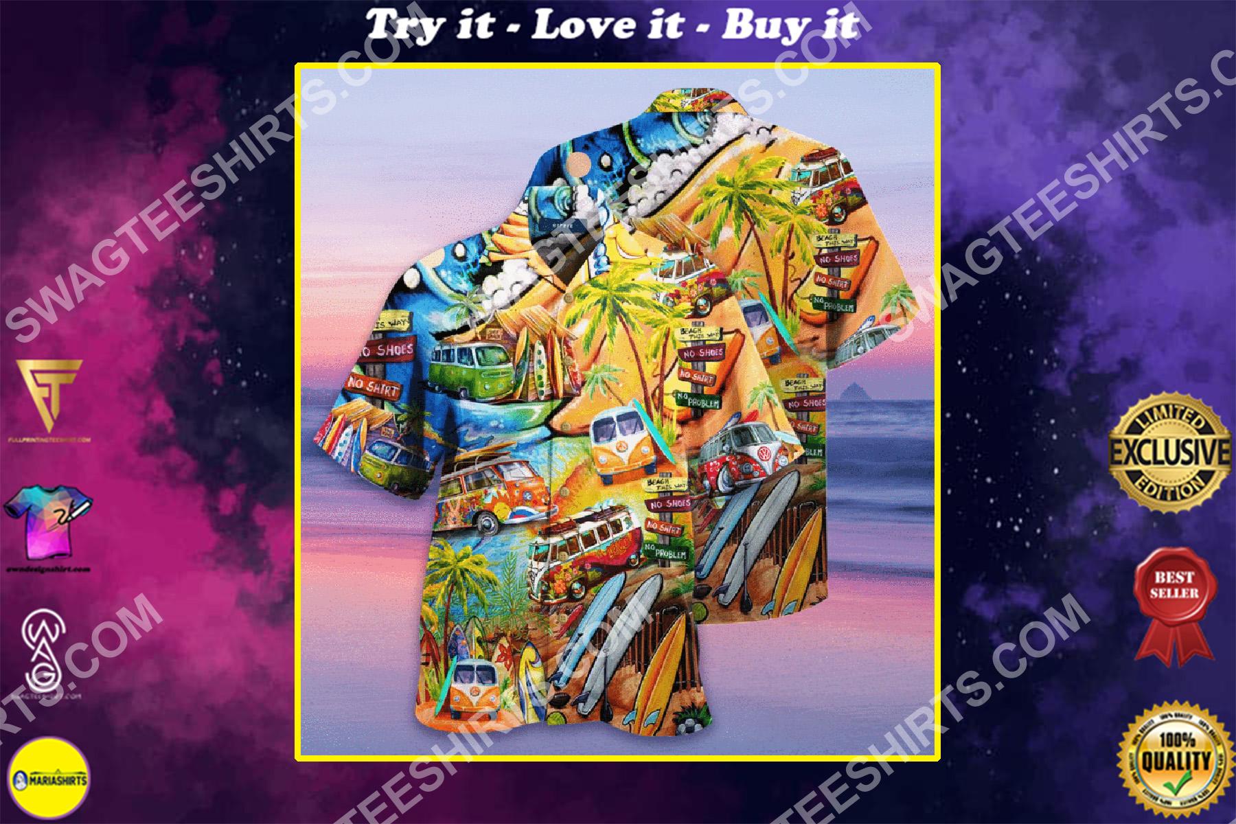 tropical hippie car all over printed hawaiian shirt
