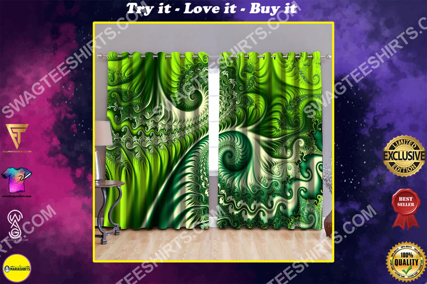 tropical koru fern all over printed window curtains