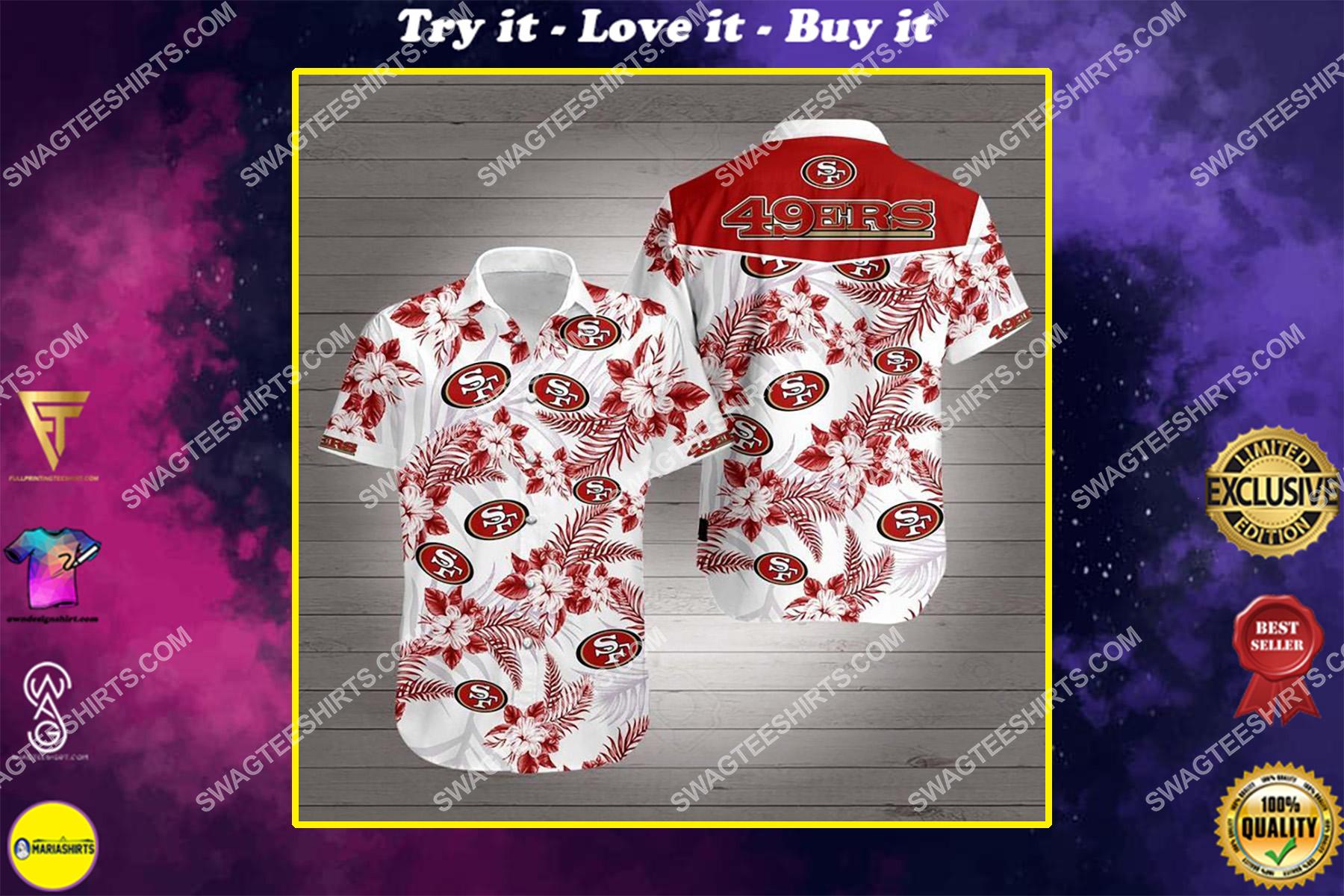 tropical san francisco 49ers all over print hawaiian shirt