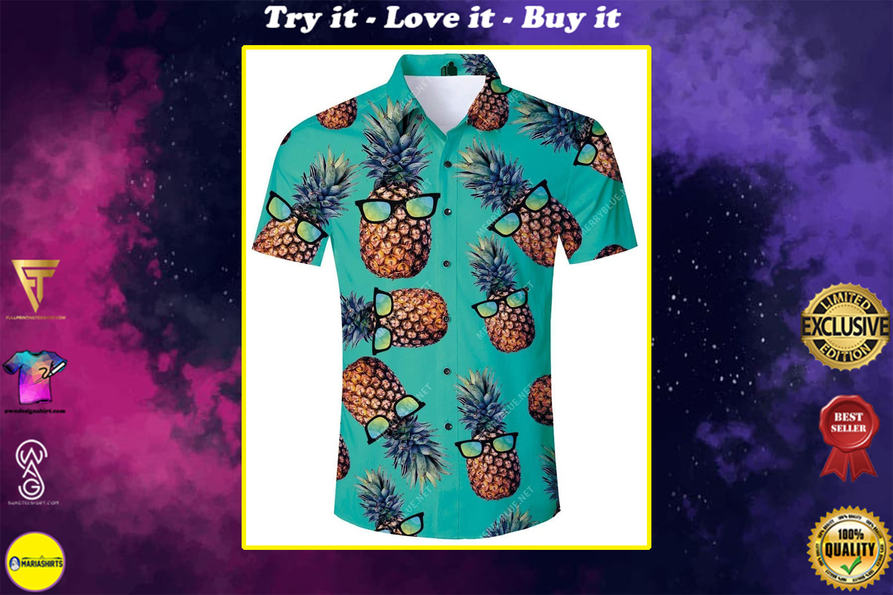 tropical summer pineapple all over printed hawaiian shirt