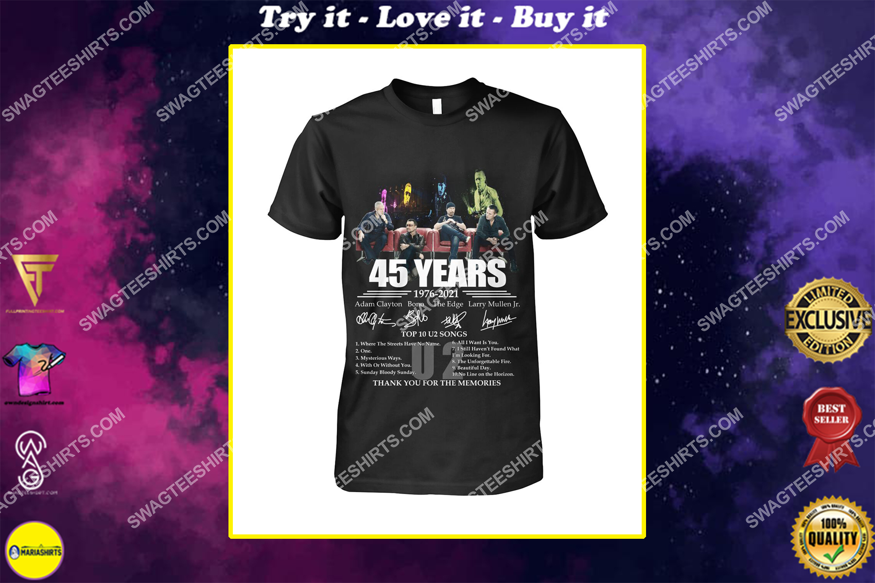 u2 band 45 years thank you for memories signatures shirt
