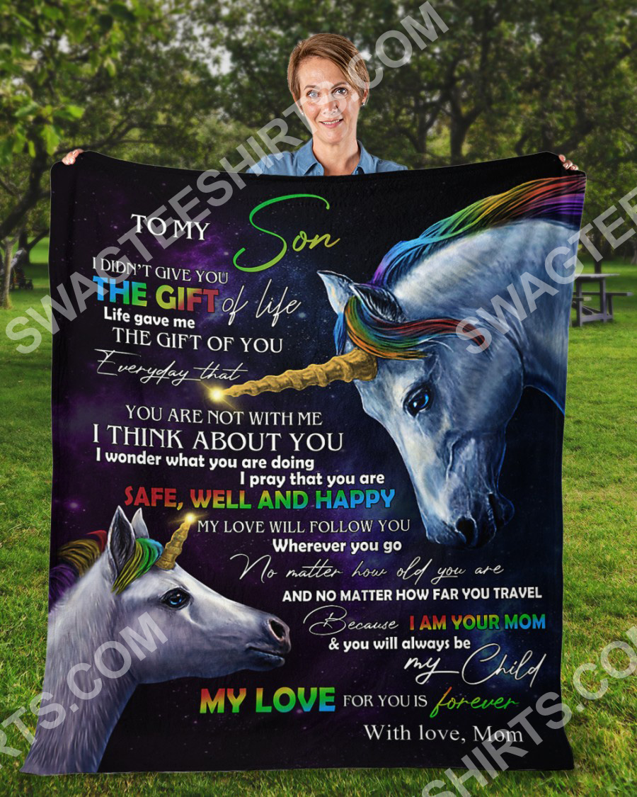 unicorn to my son my love for you is forever your mom blanket 2(1)