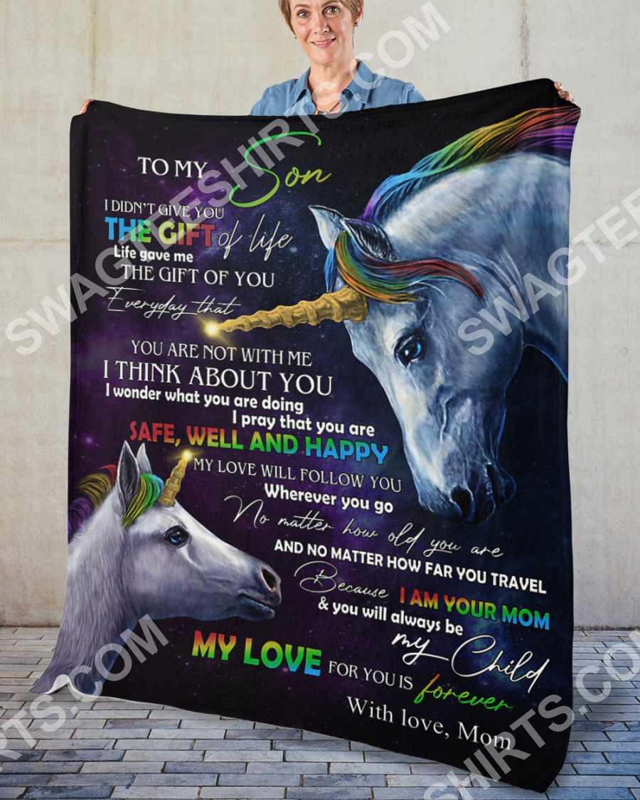 unicorn to my son my love for you is forever your mom blanket 5(1)