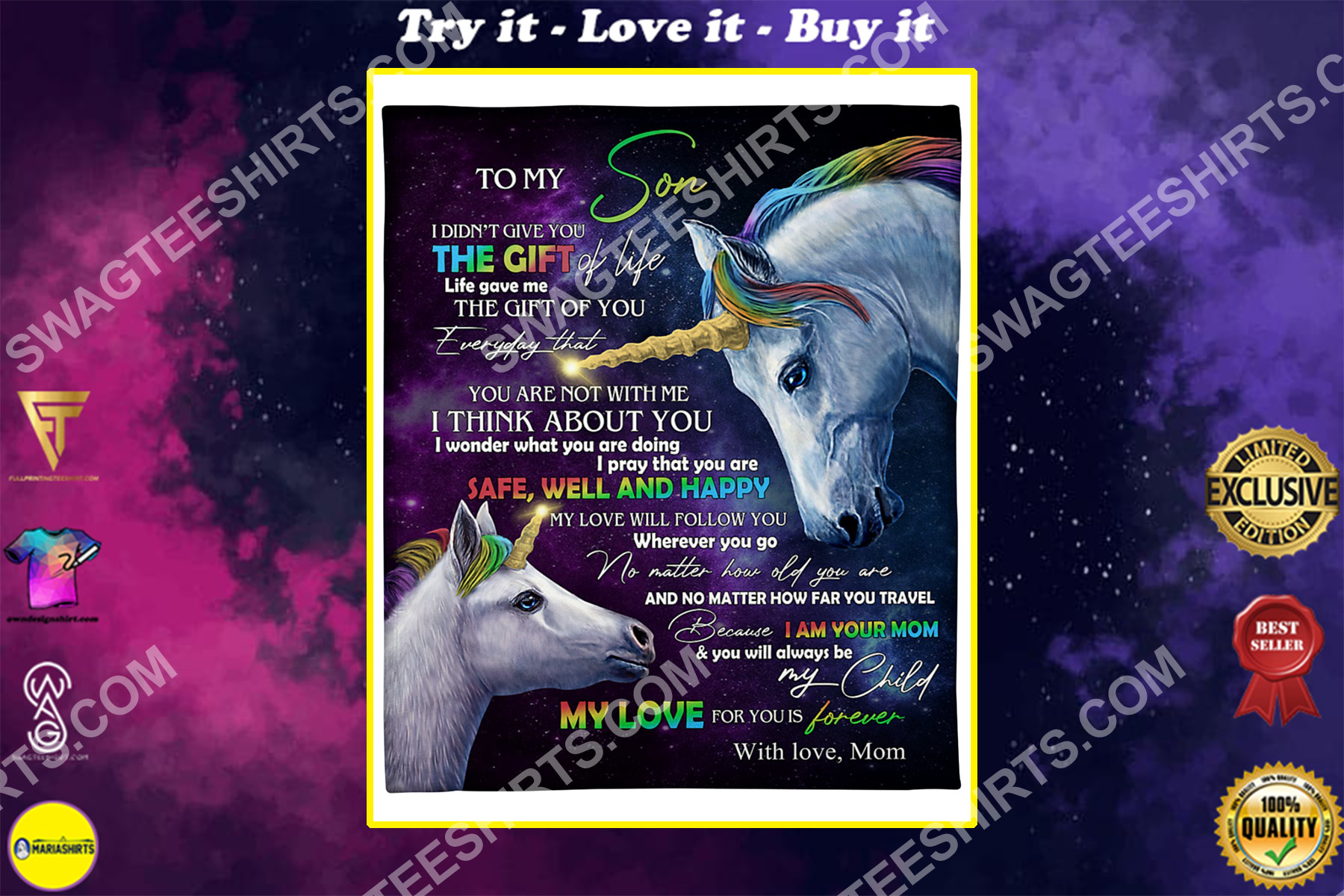 unicorn to my son my love for you is forever your mom blanket