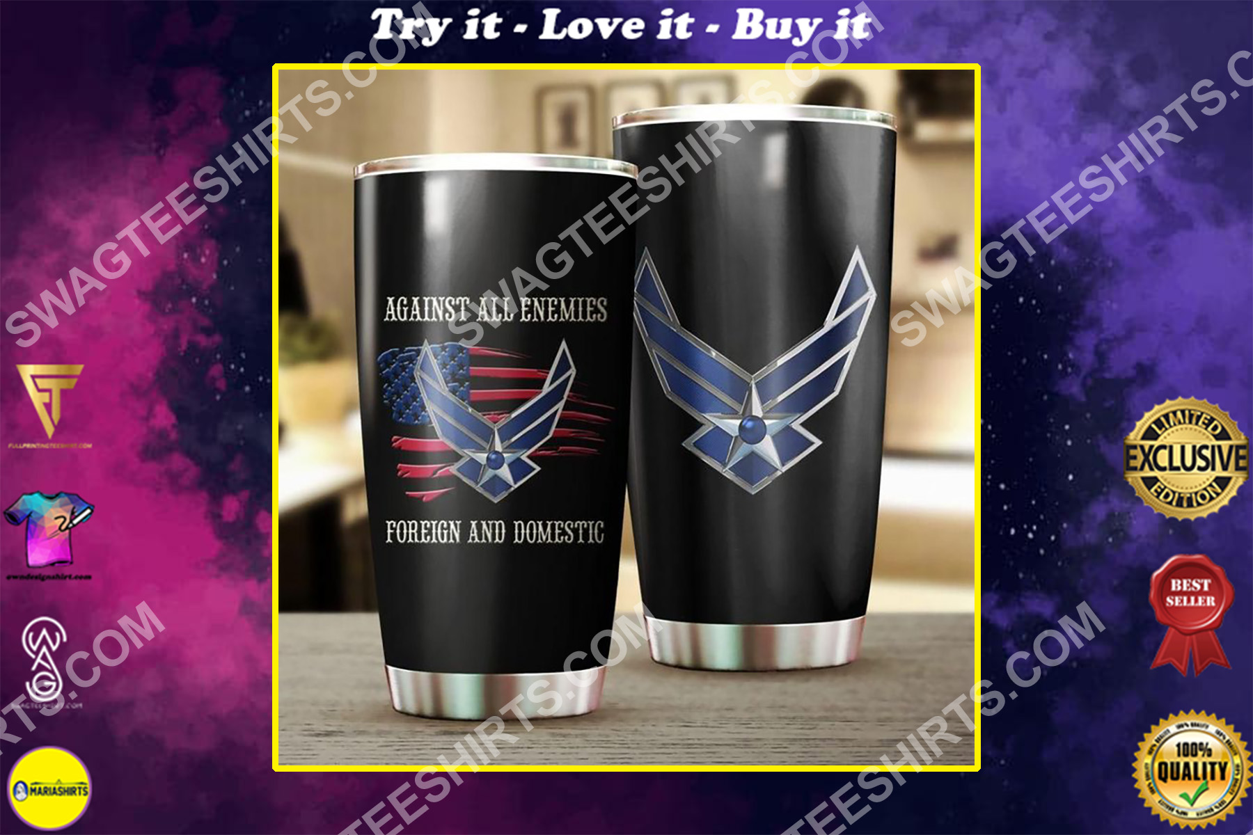 us air force against all enemies all over printed stainless steel tumbler