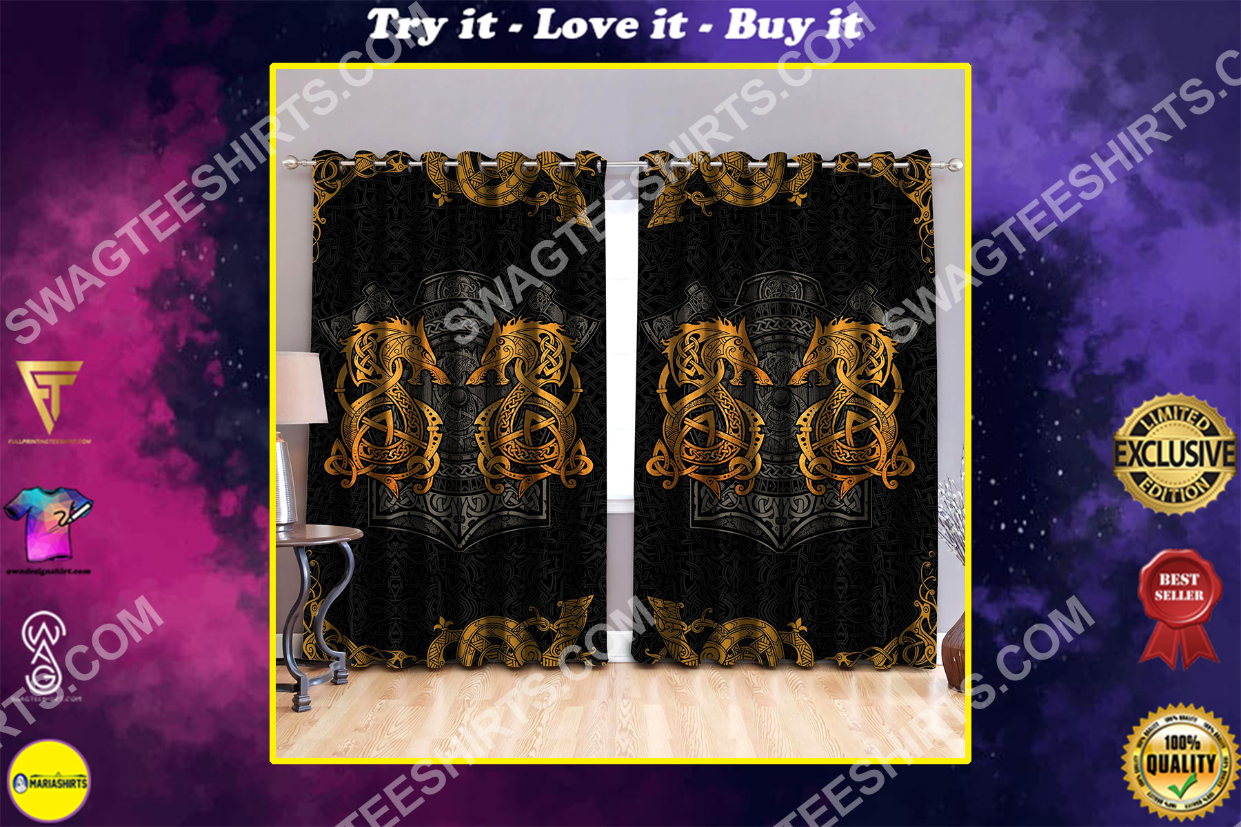 viking dragon golden all over printed window curtains