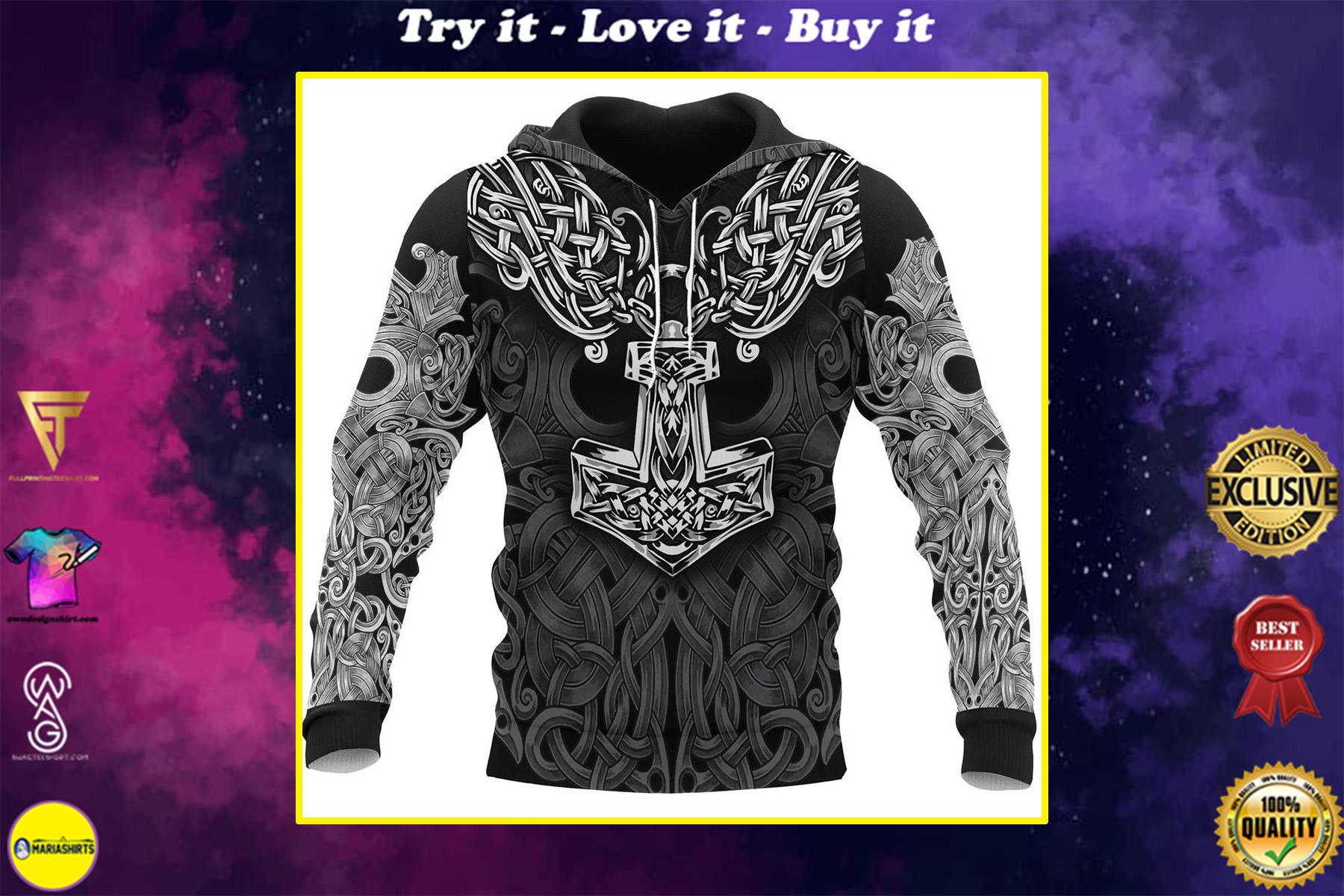 viking mjolnir odin all over printed shirt