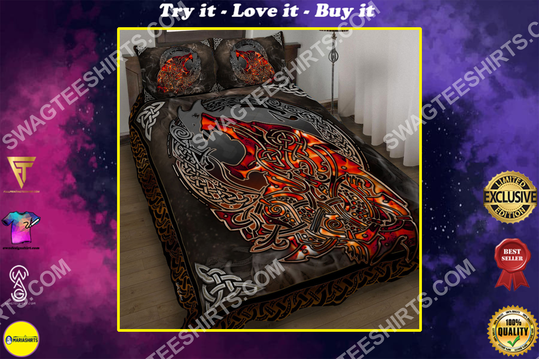 viking on fire all over printed bedding set
