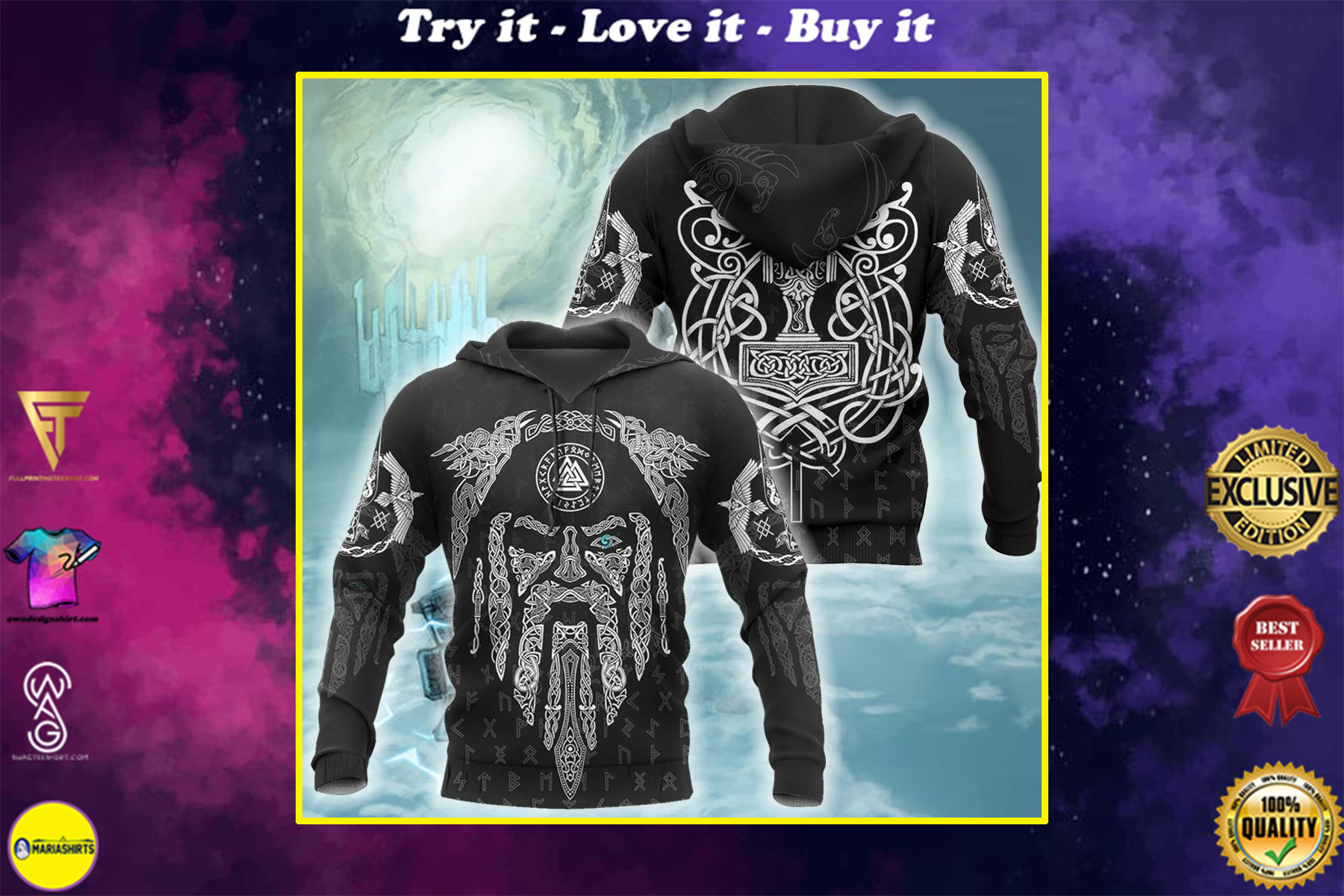 viking raven and odin all over printed shirt