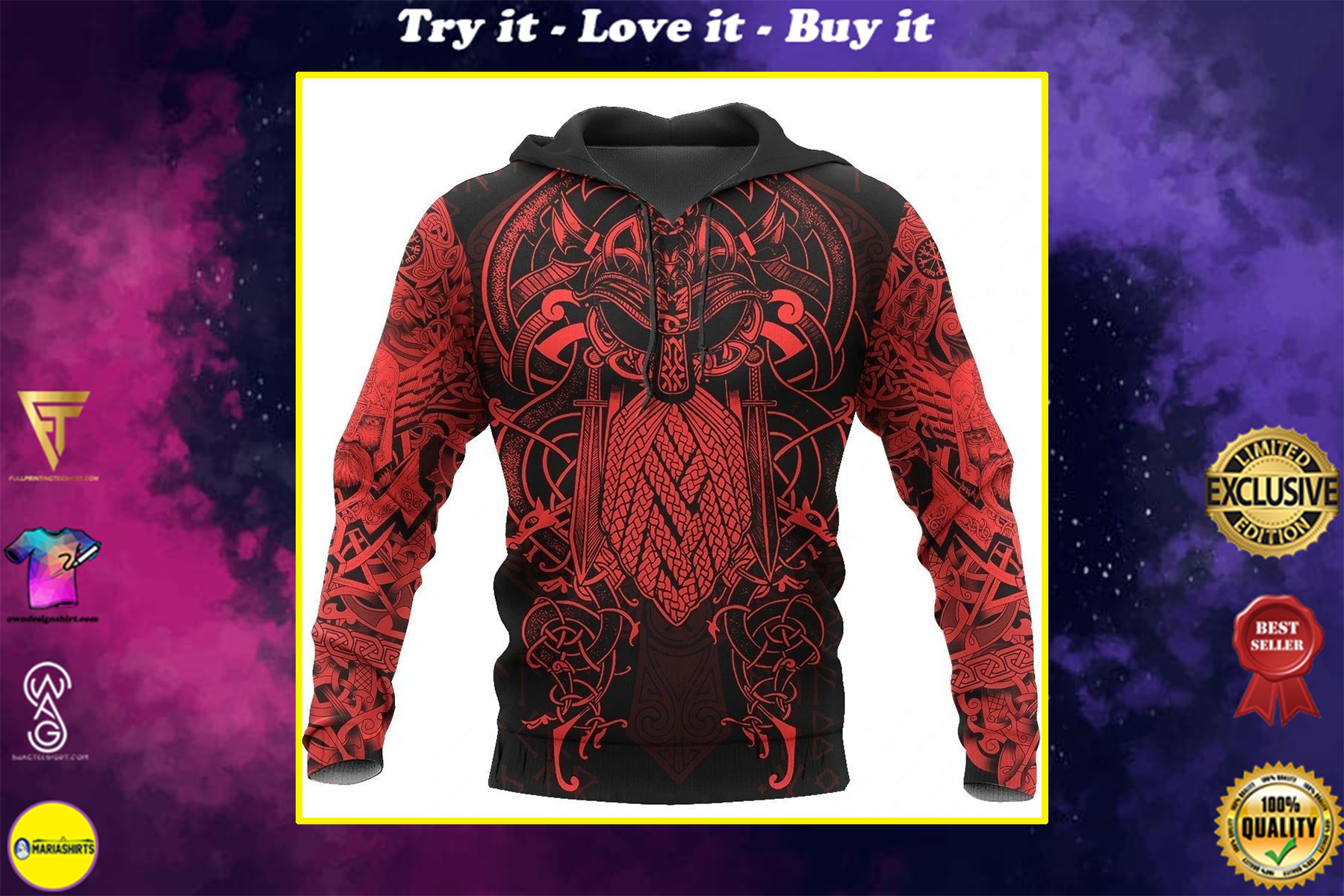 vikings the raven red of odin tattoo all over printed shirt