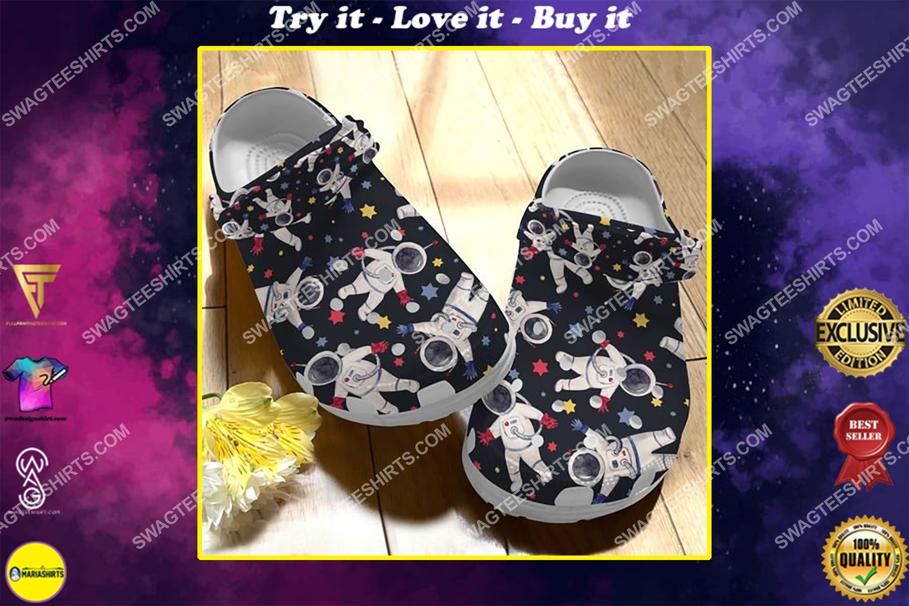 vintage astronaut all over printed crocs