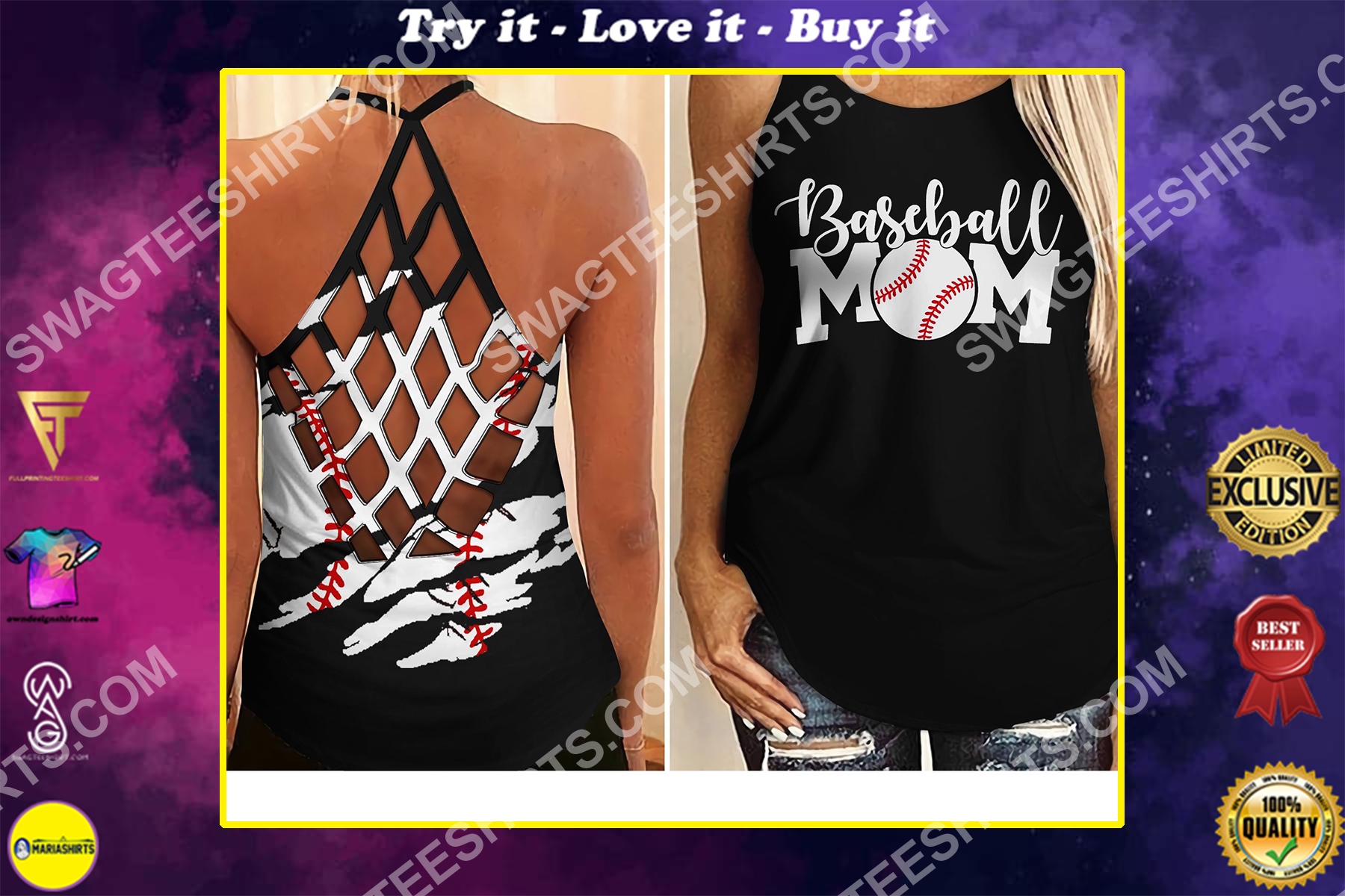 vintage baseball mom all over printed strappy back tank top