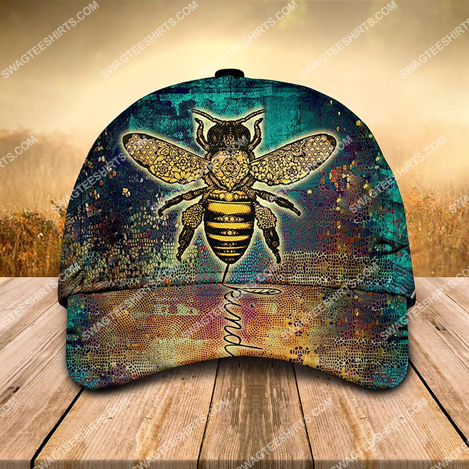 vintage bee kind all over printed classic cap 3